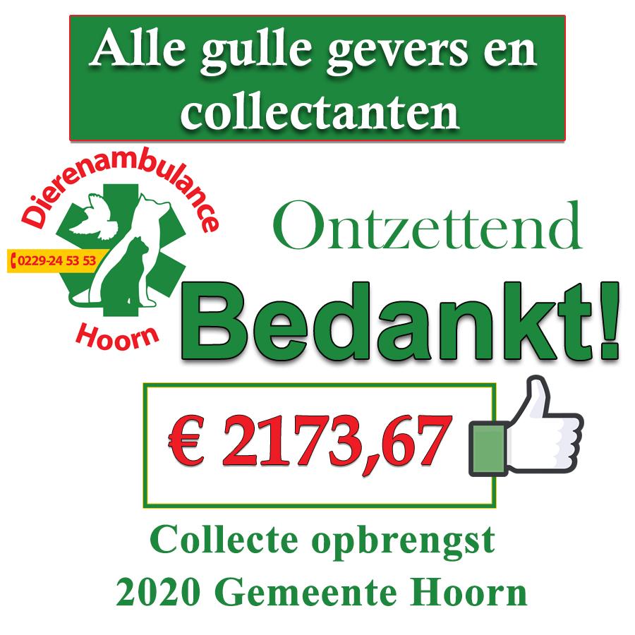 Opbrengst Collecte Gemeente Hoorn 2020